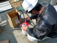 エコボロンPROに染料を混ぜて施工準備中